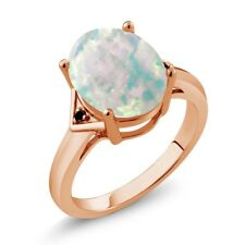 4.01 Ct Oval Cabochon White Simulated Opal Black Diamond 18K Rose Gold Ring