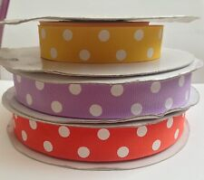 7/8 Solid grosgrain polka dot ribbon- you pick qty & color! Combined  Shipping!