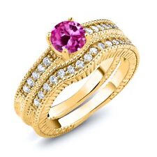 1.35 Ct Round Pink Created Sapphire 18K Yellow Gold Plated Silver Ring