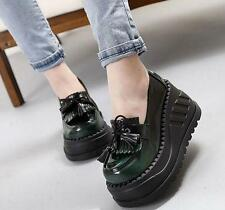 Womens ladies punk wedge high heel gothic tassels fringe ankle boots shoes size8