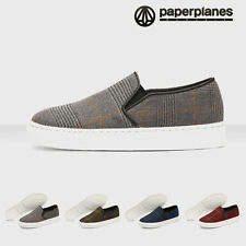 Paperplanes PP1386 Fashion Check Patterns Women Fabric Slip on Sneakers Trainers