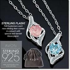 AVON STERLING SILVER GENUINE GEMSTONE HEART PENDANT ON CHAIN - NEW IN BOX!!