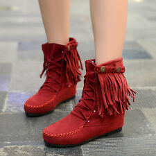 Korean New Womens Faux Suede Fringe Tassel Moccasin Lace Up Ankle Boots Shoes