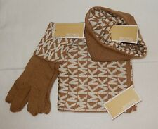 MICHAEL KORS SCARF, HAT & GLOVES SET BEIGE/WHITE MK LOGO NWT AUTHENTIC