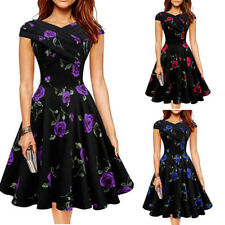 Women Retro 50s 60s Floral Slim Rockabilly Pinup Swing Prom Cocktail Party Dress