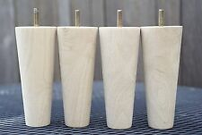 "TAPERED 6"" LEGS (TWU6) MID-CENTURY MODERN FURNITURE FEET for CHAIR SOFA DRESSER"