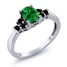 0.61 Ct Oval Green Simulated Emerald Black Diamond 925 Sterling Silver Ring