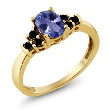 0.71 Ct Oval Blue Tanzanite Black Diamond 18K Yellow Gold Plated Silver Ring