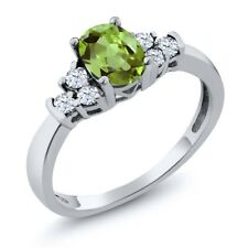0.82 Ct Genuine Oval Green Peridot & White Topaz 925 Sterling Silver Ring