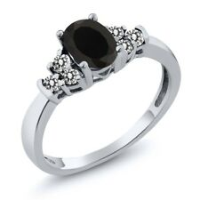 0.65 Ct Oval Black Onyx White Diamond 14K White Gold Ring