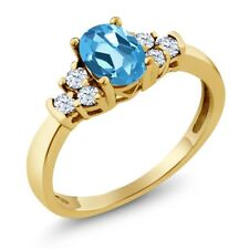 0.82 Ct Oval Swiss Blue Topaz White Topaz 18K Yellow Gold Plated Silver Ring