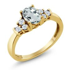0.75 Ct Oval Sky Blue Aquamarine White Topaz 18K Yellow Gold Ring