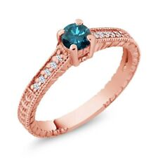 0.39 Ct Round Blue Diamond White Created Sapphire 18K Rose Gold Engagement Ring
