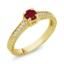 0.42 Ct Round Red Ruby White Topaz 18K Yellow Gold Plated Silver Engagement Ring
