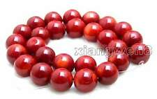 "SALE Red round 14-15mm  High quality natural Coral loose beads strand 15""-los641"