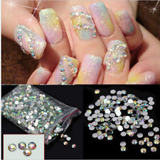 1000Pcs Nail Art Flatback Crystal 14 Facets Resin Round Rhinestone Beads hs 4mm