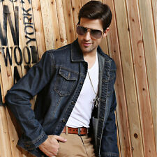 Fashion Casual  Mens Stylish Cowboy Denim Jeans Hooded Jacket Coat Plus SZ:M-5XL
