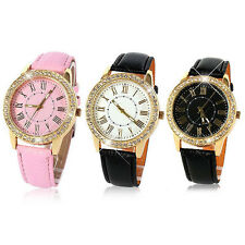 Fashion Womens Faux Leather Band Strap Analog Dial Luxury Quartz Wrist Watch H90