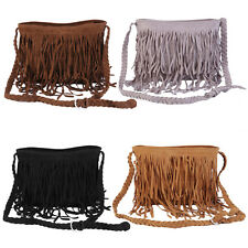Women Lady Fringe Tassel Shoulder Messenger Cross Body Satchel Bag Handbag QT