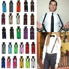 Mens Womens Adjustable Trouser Braces Suspenders Clip On Y-Shape Unisex P2N4