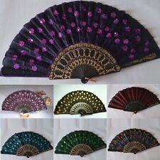 Embroidered Sequin Pattern Folding Hand Fan Held Plastic Fabric Dance Fan Gifts