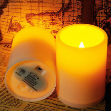 2x New Indoor/Outdoor Pillar Resin Flameless led Candle with 4 & 8 Hour Timer