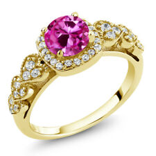 1.32 Ct Round Pink Created Sapphire 18K Yellow Gold Plated Silver Ring