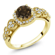 1.12 Ct Round Brown Smoky Quartz 18K Yellow Gold Plated Silver Ring