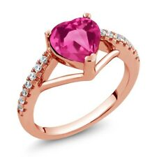 1.46 Ct Heart Shape Pink Mystic Topaz 18K Rose Gold Plated Silver Ring