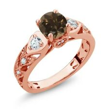 2.06 Ct Round Brown Smoky Quartz 18K Rose Gold Plated Silver Ring