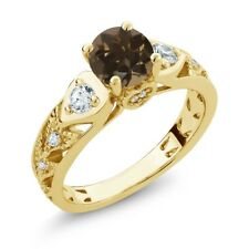 2.06 Ct Round Brown Smoky Quartz 18K Yellow Gold Plated Silver Ring