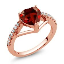 1.46 Ct Heart Shape Red Garnet 18K Rose Gold Plated Silver Ring