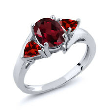 2.03 Ct Oval Red Rhodolite Garnet Red Garnet 14K White Gold Ring