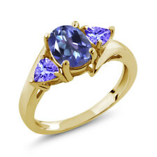 1.72 Ct Oval Purple Blue Mystic Topaz and Blue Tanzanite 14K Yellow Gold Ring