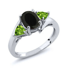 1.77 Ct Oval Black Onyx Green Peridot 925 Sterling Silver Ring