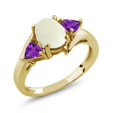 1.47 Ct Oval Cabochon White Simulated Opal Purple Amethyst 14K Yellow Gold Ring