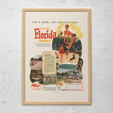 FLORIDA TRAVEL POSTER - Vintage Florida Travel Ad Poster - Quality Reproduction