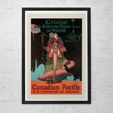 WORLD Cruise Travel Poster - Travel Print - Professional Reproduction Canadian P