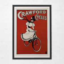 ANTIQUE RED POSTER - Crawford Cycles Poster - Art Nouveau Poster, High Quality G