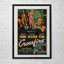 CROSSFIRE MOVIE POSTER -  Classic Movie Poster -  Robert Mitchum Movie Poster Fi