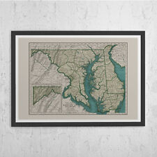 MARYLAND VINTAGE MAP - Vintage Map Print of Maryland and Delaware - Old Map Prin