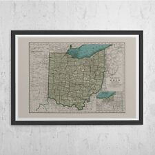 OHIO MAP PRINT - Vintage Map of Ohio State U.S.A. - American State Map, Ohio Map