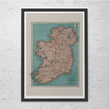 VINTAGE IRELAND MAP - Vintage Map of Ireland - High Quality Reproduction, Fine A