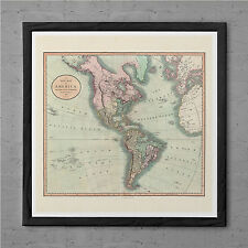ANTIQUE AMERICA Map Antique Wall Art - Early America Map 1799 - South America Tr