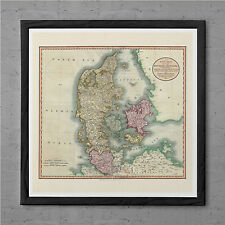 ANTIQUE MAP of DENMARK Antique Wall Art - Denmark Map 1799 - Danish Travel Print