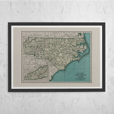 NORTH CAROLINA MAP - Vintage Map of North Carolina - North Carolina Wall Art, Vi