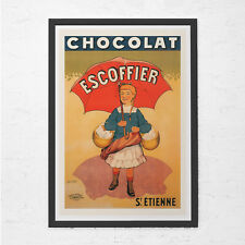 ANTIQUE CHOCOLATE POSTER - Old French Chocolate Ad - Chocolate Lover Gift, Kitch