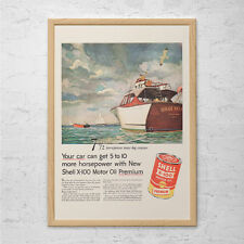 VINTAGE SHELL OIL Ad - Retro Sailing Boat Ad - Nautical Decor Vintage Boat Lover