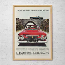 61 PLYMOUTH VINTAGE CAR Ad - Retro Car Ad - Plymouth Classic Car Ad Mid-Century