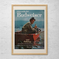 RETRO BEER AD - Vintage Budweiser Ad - Vintage Fishing Poster, Retro Kitsch Post
